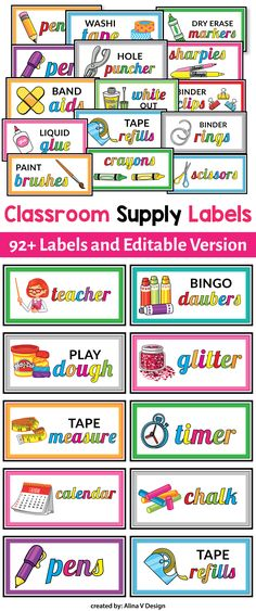 This editable classroom supply labels with pictures are the perfect addition for your classroom decor. This product will make the life of any school teacher much easier and more organized. No more opening 10 drawers to find your craft and art supplies.