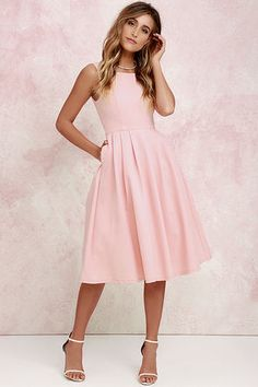 Ambitious Beauty Peach Midi Dress at Lulus.com!