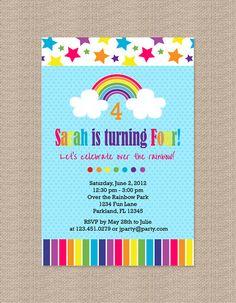 Rainbow Bright Birthday Party Invitations. $15.00, via Etsy.