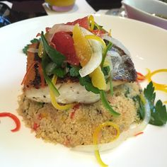 Delish seabass on a bed of couscous with citrusy buttery nutty sauce drizzled over 🐟🐟 #macau #wynn