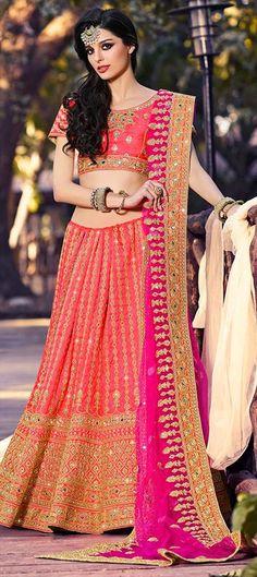 ed5a9f4e79 Orange Colour Art Silk Fabric Designer A Line Lehenga Choli Comes With  Matching Art Silk Fabric Blouse and Dupatta In Net Fabric.
