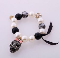 Free Stuff: Betsey Johnson**Skull Crystal crossbones pearl stretch bracelet NEW - Listia.com Auctions for Free Stuff