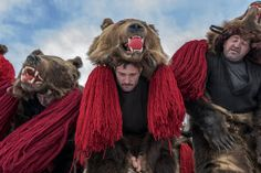 A troupe of bears from Asău village performs in central Comăneşti during the town's annual Bear Parade and Competition. Photo by Diana Zeyneb Alhindawi Diana, Bad Spirits, Gypsy Costume, Native American Women, Stage Set, Dark Night, Public Art, Dancer, Lion Sculpture