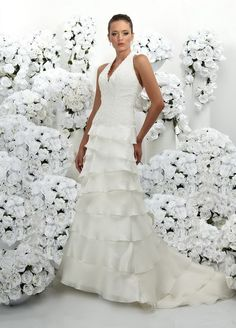 A-Line Sexy Deep V-Neckline Halter Strap with Lace Appliques and Ruffles Zipper Organza Wedding Dress