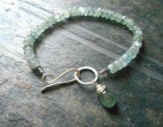 Moss aquamarine gemstone bracelet with stertling by CrazyGemLove
