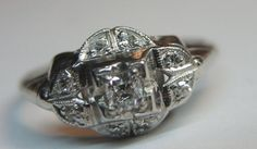 Antique Cushion Diamond Engagement Ring Platinum Ring Size 7.25 EGL USA Art Deco #SolitairewithAccents