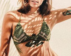 Chevron Bikini Top // Crochet bikini top // Triangle top // crochet Bikini // luxury swimwear