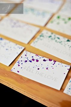 paint spatter business cards (or thank you cards.
