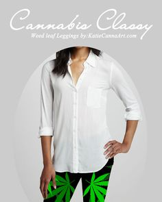 Get your Cannabis Classy on with these High Fashion Cannabis covered leggings from KatieCannaArt.com