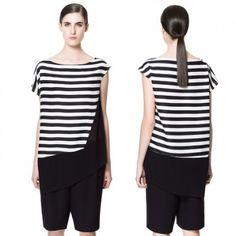Asymmetric black and white stripes stitching black chiffon shirt