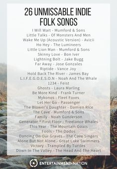 26 Unmissable Indie Folk Songs - Playlist - 26 Unmissable Indie Folk Songs From Entertainment Nation. Music Mood, Mood Songs, Music Lyrics, Music Songs, Lyric Art, Lyric Quotes, Art Music, Quotes Quotes, Playlists