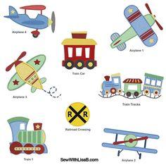 Planes and Trains Machine EMBROIDERY Designs Quilt Block Patterns, Applique Patterns, Applique Designs, Quilting Designs, Airplane Quilt, Cot Quilt, Machine Embroidery Projects, Baby Embroidery, Baby Quilts