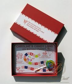 boxed candyland invite. I love this! What a creative idea. You could tweek it to just about any theme.