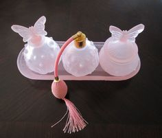 Pink Frosted Glass... Fab!  https://www.etsy.com/listing/259652999/pink-frosted-glass-6-piece-dresser-set