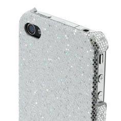 FS New Apple iPhone 4 4S Sparkle Case Silver Hard Plastic Protective Cover Design