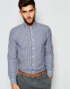 ASOS Smart Shirt In Long Sleeve With Gingham Check