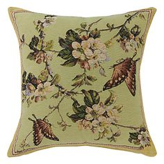 "18"" Butterfly Flower Jacquard Polyester Decorative Pillow Cover – USD $ 19.99"