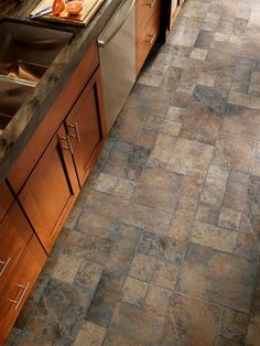 Armstrong Flooring Stones and Ceramics x x Tile Laminate Flooring in Weathered Way Euro Terracotta Kitchen Redo, New Kitchen, Kitchen Remodel, Kitchen Design, Kitchen Ideas, Kitchen Tile, Laminate Flooring In Kitchen, Tile Flooring, Ceramic Flooring