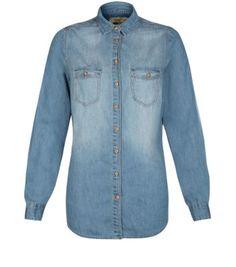Blue Faded Long Sleeve Denim Shirt.