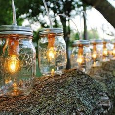 This would be easy to do with just Ball Jars and tea lights - set them along the deck, on tables, etc. PARTY LIGHTS - Mason Jar String Banner Lights with 8 pint Ball Mason Jars Upcycled Rustic Wedding Holiday string of Lights - BootsNGus lamp. Mason Jar Party, Ball Mason Jars, Mason Jar Lamp, Party Lights, Tea Lights, Mason Jar Lighting, Porch Lighting, Holiday Lights, String Lights