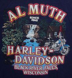 T-shirt Harley Davidson Al Muth Dealership Black River Falls Large Short Sleeve #HarleyDavidson #GraphicTee
