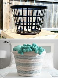 dollar store basket transformation with rope