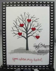 January 05, 2015 UdderlyAwesome Stamping From The Heart: Sheltering Tree Cards: a Set for all Seasons! Real Red, Stacked With Love DSP Stack, Smoky Slate