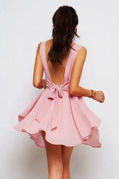 Pink Dress with low back and bow