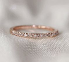 Thin Design 14k Rose Gold Wedding Ring Pave 0.17ct Diamond  Engagement Ring/ Matching Band/ Half Eternity Band