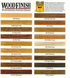 Wood Stain Chart Like Cinnamon Or Golden Oak For Maple