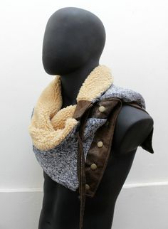 Scarf. Unisex Snap cowl Knit faux lamb fur and by CheriDemeter