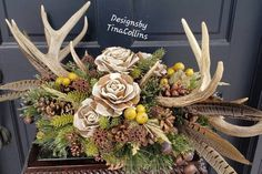 Deer Antler Table Antler Centerpiece Wedding Centerpiece Antler Arrangement Centerpiece with Antlers Antler Centerpiece, Feather Centerpieces, Wedding Table Centerpieces, Christmas Centerpieces, Table Decorations, Deer Antler Wedding, Hunting Wedding, Fall Wedding, Wedding Ideas