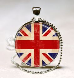 Union Jack British Flag Necklace Glass by MissingPiecesStudio, $9.95