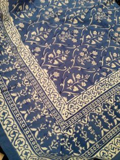 """100% Cotton Hand Block Printed Table Cloth,  Blue & White Size 55"""" X 55"""" on Etsy, $25.00"""