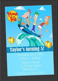 Custom Phineas and Ferb Birthday Party Photo by TheInvitationPeeps. $15.00, via Etsy.