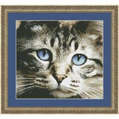 Blue Eyes Kitten Counted Cross Stitch - This kitty will captivate any audience with its beautiful and striking stare. Cross Stitch Art, Cross Stitch Animals, Counted Cross Stitch Patterns, Cross Stitching, Cross Stitch Embroidery, Cat Love, Cat Art, Needlework, Blue Eyes