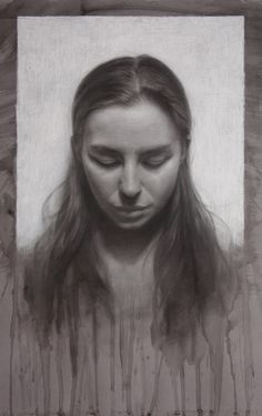 drawing of aubrey looking down, charcoal on toned paper