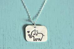 ELEPHANT NECKLACE silver elephant jewelry by boygirlparty - handmade animal pendant - original jewelry