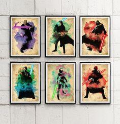 Star Wars Fantastic Color Poster Set / Anakin Skywalker, Darth Vader etc. #Minimalism