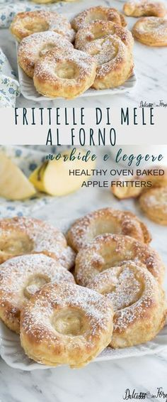 Baked apple fritters with batter, soft, light and light! Simple step by step recipe Healthy Oven Baked Apple Fritters no fry, recipe step by step Apple Recipes, Fall Recipes, Sweet Recipes, Baking Recipes, Healthy Recipes, Baked Apple Fritters, Just Desserts, Dessert Recipes, Baked Apples