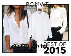 """""""White Blouse by Romwe"""" by fashionholics-h-a ❤ liked on Polyvore featuring WithChic, women's clothing, women's fashion, women, female, woman, misses and juniors"""
