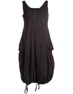 Cotton dress with deep back opening in Graphit-Grey / Black designed by Ultimate Miks to find in Category Dresses at navabi.de