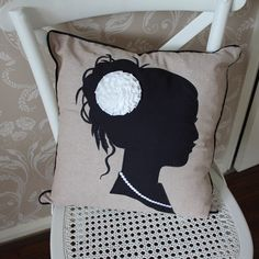 Beige and Black Lady Silhouette Scatter Cushion