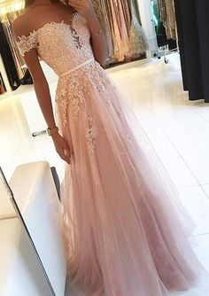 pink prom dress A Line party dress Appliques Prom Dress with off shoulder evening dress Pinkes Ballkleid A Line Partykleid Appliques Ballkleid mit schulterfreiem Abendkleid Pretty Prom Dresses, A Line Prom Dresses, Tulle Prom Dress, Tulle Lace, Beaded Lace, Pink Lace, Elegant Prom Dresses, Homecoming Dresses Long, Prom Dresses Light Pink