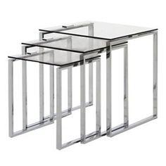 Debenhams Chrome and glass 'Alberta' nest of 3 tables | Debenhams