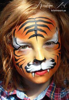 Face painting tiger. Ansiktsmålning tiger. kristinaart.se