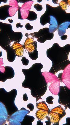 butterfly + cow print wallpaper