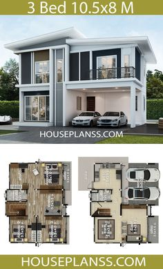 House Design Plans Idea with 3 bedroomsThe House has:Building size (m X m) : x size (Sq.m) : size (Square wah) : 44 Two Story House Design, 2 Storey House Design, Duplex House Design, House Front Design, Small House Design, Modern House Design, House Layout Plans, House Layouts, Small House Plans