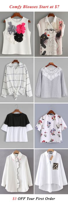 Love the top two blouses. Tween Fashion, Look Fashion, Autumn Fashion, Fashion Outfits, Womens Fashion, Fashion Trends, Tween Mode, Diy Clothes, Clothes For Women