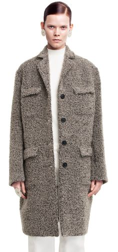 Tessa menswear style coat in soft, wool mohair boucle #AcneStudios #FallWinter2014